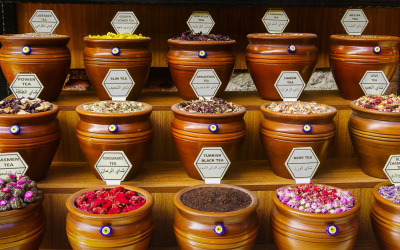 Spices And Jar In Bazaar In Istanbul, Turkey