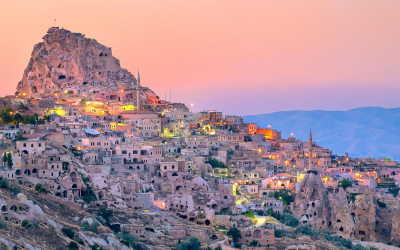 Uchisar cave city in Cappadocia, Turkey on sunset